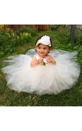 A-Line Satin Sash Strap Satin Tutu Flower Girl Dress
