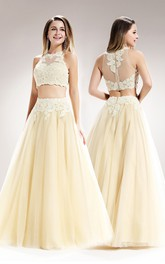 2-Piece Illusion Pleated Appliqued A-Line Long Sleeveless High-Neck Tulle Dress