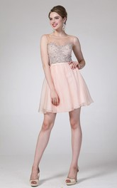 A-Line Illusion Jeweled Short Mini Sleeveless Scoop-Neck Chiffon Dress