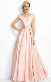 V-neck Satin A-line Floor-length evening Dress