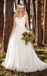 Elegant A-line Straps Floor-length Wedding Dress with ruching