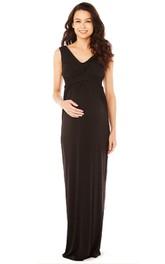 Ruched-Bodice Satin V-Neckline Sleeveless Long Dress