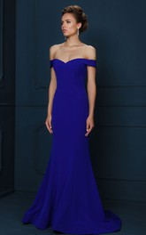 Off-the-shoulder Jersey Floor-length Dress With Sweep train