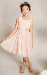 Short-Midi Bow Pleats Scoop-Neckline A-Line Tulle Flower Girl Dress