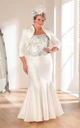 Strapless Satin Long Trumpet Appliqued 3-4-Sleeve Gown