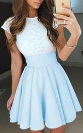 Jewel Taffeta Lace Short Sleeve Short A Line Homecoming Dress with Pleats