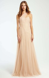One-shoulder Tulle Ruched long Bridesmaid Dresses