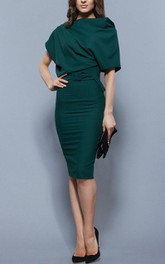 Bateau Pencil short Knee-length Dress