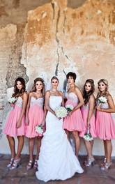 Glamorous Sweetheart Sleeveless Chiffon Bridesmaid Dress Short With Crystals