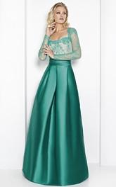 Illusion Lace Appliques Satin Long evening Dress