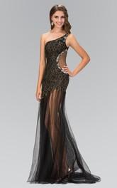 Column Jeweled Lace One-Shoulder Sleeveless Tulle Dress
