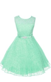Jewel-Neckline Satin Belt Sleeveless A-Line Lace Dress