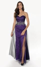 Sweetheart Front-split Lace Sheath Dress With Jeweled Waist
