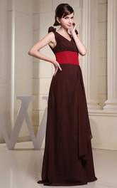 Ruched Ruched Flower V-Neckline Multi-Color Floor-Length Dress