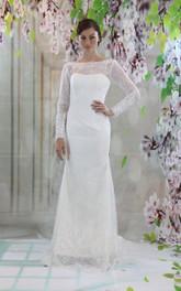 Lace V-Back Long-Sleeve Bateau-Neckline Wedding Dress