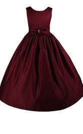 Jewel-Neck Sleeveless A-line Satin Flower Girl Dress