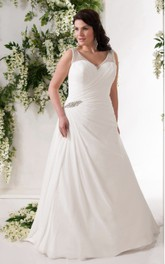 V-neck Beaded Chiffon side-draped Wedding Dress With Court Train