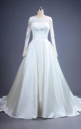 A-Line Lace Bodice Wedding Floor-Length Dreamy Satin Dress