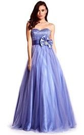 Sweetheart A-line Tulle Satin Prom Dress With Beading And bow
