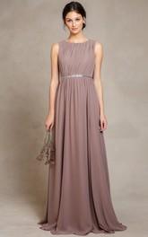 Scoop-neck Sleeveless Chiffon Long Dress With Pleats And Keyhole