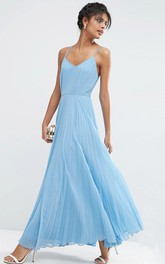 Sheath Spaghetti Long Chiffon Bridesmaid Dress With Pleats And Straps