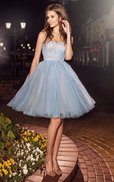 A-Line Appliqued Criss Cross Short Mini Tulle Strapless Backless Dress
