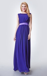 Keyhole Back A-Line Illusion-Neckline Bridesmaid Dress