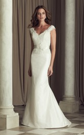 Plunged Cap-sleeve Mermaid Lace Appliqued Wedding Dress With Flower