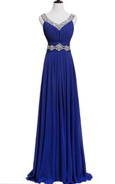 Long Chiffon Sequined Sleeveless Pleated Dress