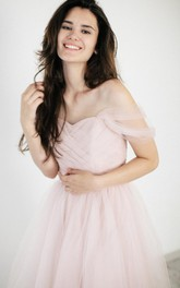 Organza Ruched A-Line Off-Shoulder Wedding Dress