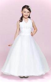 Princess Appliqued Organza Halter Flower Girl Dress