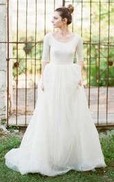 Scoop Lace Tulle T-shirt Half Sleeve Wedding Gown