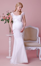 Satin High-Waist Bow Cap-Sleeved Lace Gown