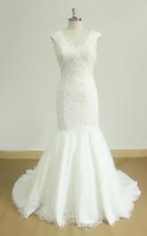 Tulle Satin Cap-Sleeve V-Neckline Wedding Lace Dress