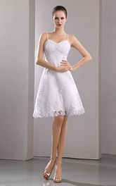 Stunning Embroidery Short Strapped Spaghetti Gown