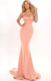 Spaghetti-strap Sheath Jersey Prom Dress With Appliques And Sweep Train