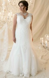Cap-sleeve Lace Appliqued plus Wedding Dress With Corset Back And lace up