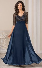 V-neck Half Sleeve Chiffon Mother of the Bride Dress With Illusion Lace top