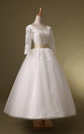 Scoop-neck Half Sleeve A-line Tea-length Wedding Dress With Appliques And Corset Back
