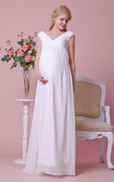 Allover V Neckline Column Cap-Sleeved Gorgeous Chiffon Gown