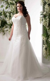 Sweetheart A-line Tulle Ball Gown plus size Dress With Beading And Corset Back
