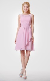 Chiffon A-Line Country-Inspire Short Bridesmaid Dress