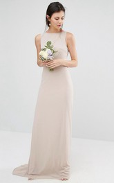 sheer Jewel-Neck Sleeveless Dress With Low-V Back And bow