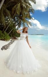 Bateau-Neckline Jewel Tulle Floor-Length A-Line Long-Sleeve Dress