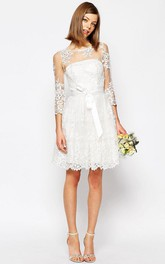 Bateau Long Sleeve Lace short Wedding Dress With Illusion And bow