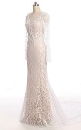 Lace Low-V Back Long-Sleeve Trumpet Wedding Dress