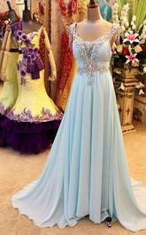Evening V-Neckline Crystal Rhinestone Bling Prom Backless A-Line Gown
