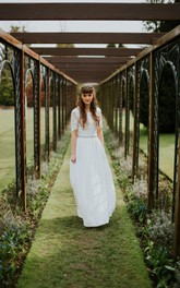 square-neck Short Sleeve Sheath Dress With Jeweled Waist And Deep-V Back