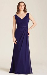 V-neck Sleeveless Chiffon Bridesmaid Dress With side draping