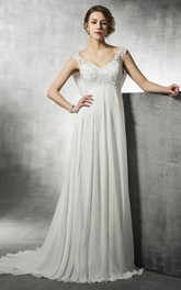 Lace Beaded Back Cowl Empire A-Line Dress
